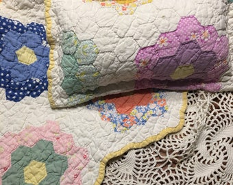 Grandmother's Flower Garden Quilt Layer and Pillow Set/ Newborn Girl Prop Set