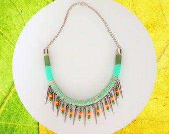 rope necklace, colorful necklace, boho necklace, festival necklace, summer necklace