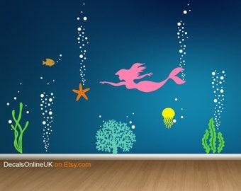 Sealife Underwater Wall Decal, Mermaid Wall Decal, Aquarium Nursery Decal,  Ocean Coral Decal