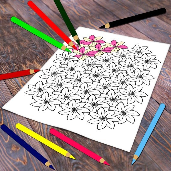 Floral Coloring Page, Abstract Flower Coloring Printable, Adult Colouring Flowers, Spring Color Page, Flowers To Color PDF Download