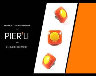 Orange and yellow square ring © PIER'LI