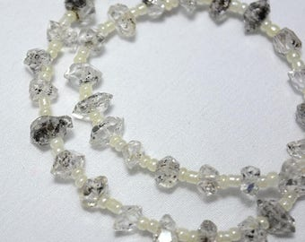 50% DISCOUNT Herkimer Diamond Beads,Herkimer Diamond Nuggets, Raw Herkimer Diamond Beads - 6x7.5mm - 7x10mm - 12 Inches Full Strand