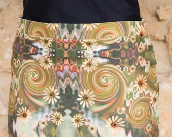 Daisy and Spirals Pencil Skirt, mini skirt, 1960's inspired design.