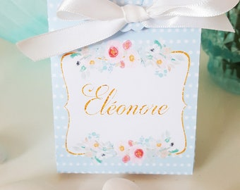 "Box dragees-baptism - themed ""flowers"" - blue polka dots-white text-Gold text customization"