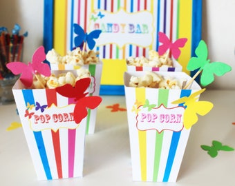 Small box pop corn-theme Rainbow and Butterfly - multicolored