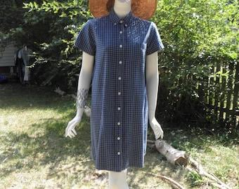 Vintage Plaid Denim Blues Short Dress W/ Short Sleeves