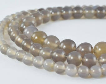 Gray Quartz Gemstone Round Beads Size 6mm/8mm/10mm Natural Stones Beads Healing chakra stones for Jewelry Making
