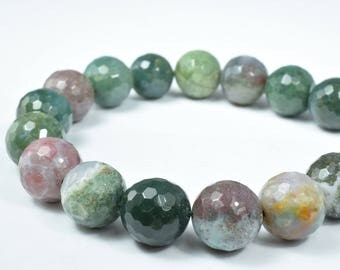 15mm Green Lace Faceted Agate Gemstone Agate Stone Beads Lace Agate, Wholesale Gemstone Beads, Round Beads Stone Round Loose Birthstone