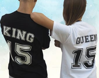 King queen tees tshirt for couples set shirt couple tee together since