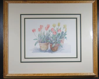 Framed Jodi Jensen Watercolor Signed Numbered Matted #457/595 Tulips Flowers Floral Country Picture Limited Edition
