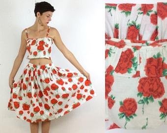 1950s Floral Rose Print Cotton Two piece
