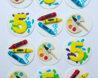 12 x art paint party fondant  Cupcake Toppers - Birthday, Party