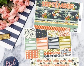September Monthly Planner Sticker Kit. Perfect for Erin Condren Life Planners! SEPTEMBER