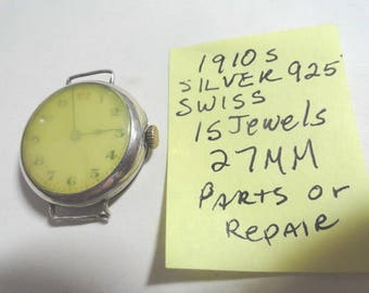 Vintage 1910s Swiss Sterling 925 Silver  Wrist Watch for Parts or Repair 27mm