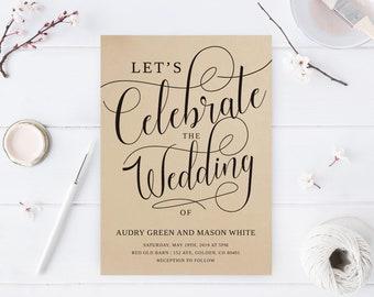 Let's celebrate invitations / Kraft wedding invitations / Modern rustic wedding invites