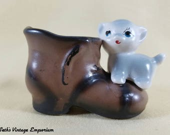 60's ~ Toothpick Holder ~ Kitten and Boot Figure ~ Knick Knacks ~ Cat Figurine ~ Japan ~ Planter ~ Match Holder ~ Seths Vintage Emporium