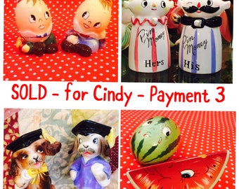 SOLD - for Cindy - Layaway Payment 3 - Relco Pin Banks and 3 sets PY S&P Shakers made in Japan circa 1950sa
