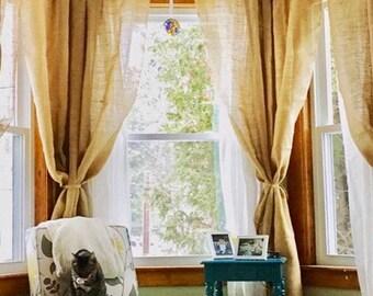 burlap window treatment, curtain panle, Burlap curtain, curtains, burlap, drapes, drapery, rustic decor, home decor, custom sizes available