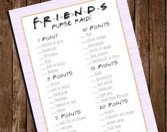 Printable FRIENDS Purse Raid/ Bridal Shower Game/ 5x7 Cards