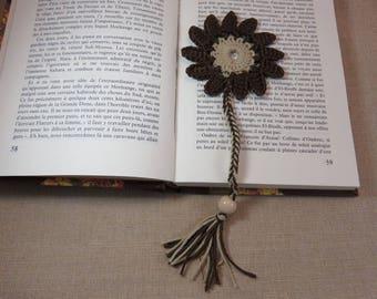 Bookmark flower bookmark crochet bookmarks beige Brown, jewelry book, bookmark 100% cotton, hand made page marker