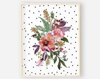 Burgundy Floral Nursery Digital Print | Nursery Wall Art | Polka Dot Floral Wall Art | Floral Baby Girl Nursery Decor | Aubrey Floral 1
