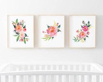Watercolor Floral Nursery Digital Print | Nursery Wall Art | Floral Wall Art | Floral Baby Girl Nursery Decor | Watercolor Floral Art Bundle