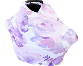 Purple Petal Party Car Seat Cover | Watercolor floral Soft Everything Cover | Stretchy Nursing Cover | Car Seat Canopy Cover