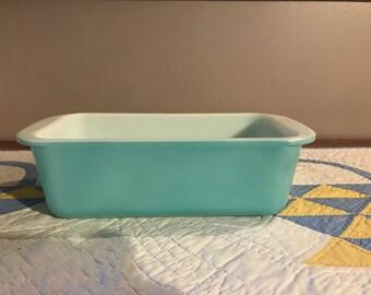 Vintage Turquoise Pyrex Bread Pan 213 1 1/2 Qt