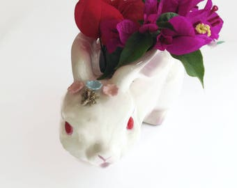 Vintage Easter Planter - Easter Decor - Easter Bowl - Baby Room Planter - Succulent Planter- Ceramic Rabbit - Rabbit Figurine