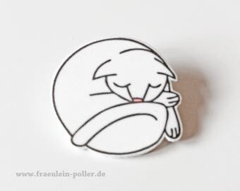Brooch Cat White