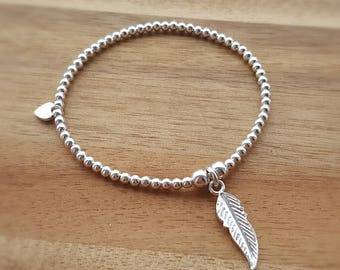 Feather Bracelet, Feather Jewellery, Feather Jewelry, Feather Jewellery, Stretch Bracelet, Bead Bracelet, Boho Jewelry, Gift For Her