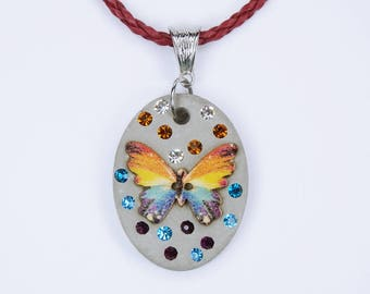 Necklace with butterfly in multicolored with rhinestones in blue purple yellow rainbow concrete jewelry red synthetic leather ribbon concrete Jewelry
