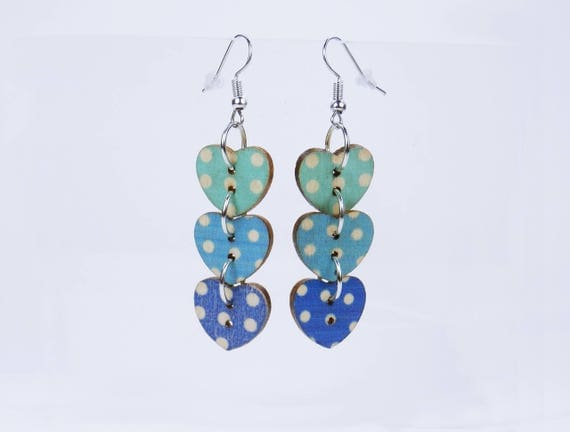 Earrings Hearts blue with white dots on silver-colored earrings wooden pendant earrings oktoberfest heart Turquoise light blue white