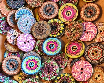 25mm Cute Boho buttons, 1 inch Mixed wood buttons ,Wooden Sewing Buttons, 2-hole Round mixed retro pattern, 5, 10 or 20 pack