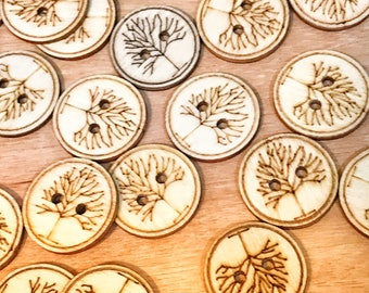 1 inch buttons, 2 hole Cute wood Tree of Life buttons, sewing buttons, craft buttons, carved wood buttons. 10 or 20 pack