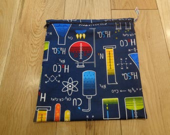 Snack Bag - Bikini Bag - Lunch Bag - Sandwich bag  - Baggie - Eco - Craft Bag - Large Poppins Waterproof Lined Zip Pouch  - Science Blue US