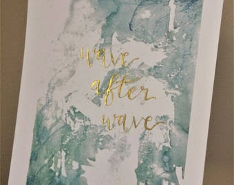 Wave after wave ~ Abstract worship artwork ~ Christian artwork ~ Watercolour ~ Hand lettered