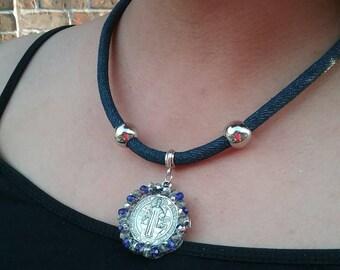 San Benito denim necklace