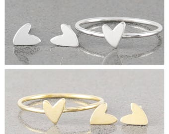 Mini Heart Ring, Stacking Ring, Heart Ring, Sterling Silver and Gold Fill Ring ( HCR WHER 203 )