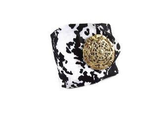 Bracelet blanc, bracelet noir, bracelet wax, bracelet tissu, manchette tissu, tissu africain, bouton doré, bracelet femme, cadeau femme
