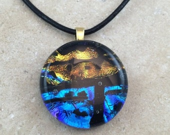35% OFF Gold Blue Rainbow Necklace, Glass Jewelry, Fused Glass Jewelry, Dichroic Pendant, Dichroic Glass Jewelry, Blue Gold Dichroic -HEA300