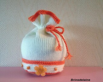 Hand knitted winter hat size 3/6 month orange and ecru