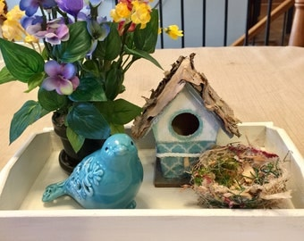Birdhouse Centerpiece Spring Handmade Bird Nest Easter Gift Mother's Day Tabletop Decor Desktop Farmhouse Decor Gift Michelle Dornstreich