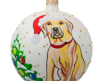 "4"" Yellow Labrador Dog Glass Christmas Ball Animal Ornament"