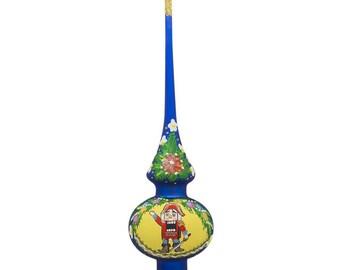 "11"" Nutcracker Wreath Blue Glass Christmas Tree Topper"
