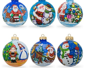 "3.25"" Set of 6 Santa, Snowman, Reindeer, Nutcracker Glass Ball Christmas Ornaments"
