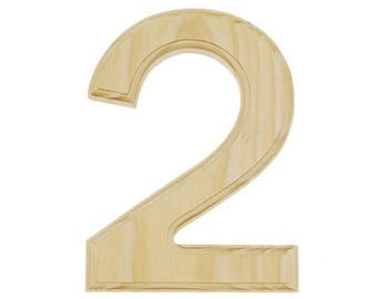 """6"""" Blank Unfinished Wooden Number 2 (Two)"""