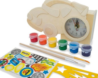 """4.5"""" x 7.5"""" Unfinished Blank Wooden Race Car Clock"""