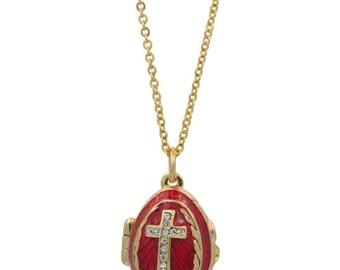 "Red Enamel Crystal Cross Royal Egg Pendant Necklace 22"""