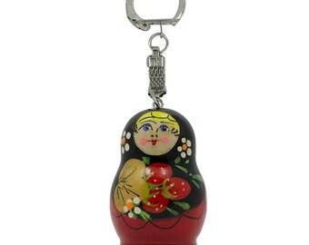 "1.75"" Strawberry Wooden Matryoshka Russian Doll Keychain"